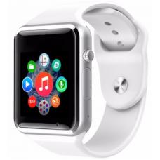 Ceas smartwatch cu telefon A100i, 1.54 Inch, camera, alb